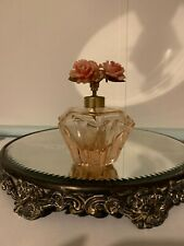 Pink Coral Irice Crystal Vintage Perfume Bottle Pump stopper with Flowers