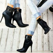 Neu Damen Stiefeletten Pumps Glitzer Schuhe Party High Heels Stilettos SeXy