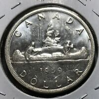 UNCIRCULATED UNC 1959 CANADA SILVER DOLLAR 80/% SILVER COIN IN CAPSULE