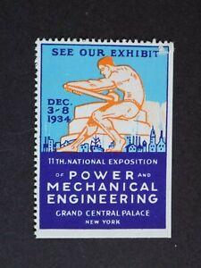 (1) mnh 1934 New York National Exposition Power Mechanical Eng.Cinderella Label