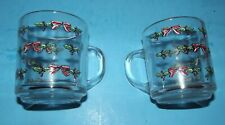 Merry Christmas 2 Usa Clear Glass Cups w Holly Berries Ribbon Coffee Coco Tea