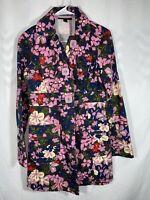 Tara Jarmon Target Trench Coat Jacket Floral Print Cotton Canvas Womens Size S