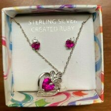 Earring & Necklace Set- Heart shaped sterling silver created Ruby