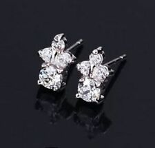Stud Round White Gold Filled Fine Gemstone Earrings