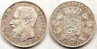 Belgica-Leopoldo II. 5 francos 1875. EBC-/XF- Plata 25 g.