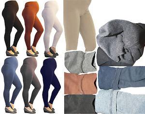 Maternity Leggings Thermal Long Trousers Pants Cotton Fleece Inside