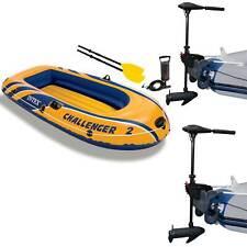 Intex Challenger 2 Inflatable Raft Set & 2 Transom Mount 8 Speed Trolling Motors