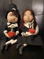 Joe Spencer Gathered Traditions Adam & Eve Thanksgiving Pilgrim Art Décor Dolls