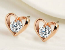 18K ROSE GOLD PLATED CZ CRYSTAL HEART STUD EARRINGS