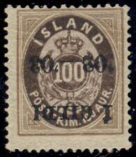 ICELAND #68a (44v1) 100aur INVERTED I GILDI Ovpt, og, NH, VF, Facit $460.00