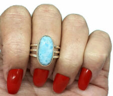Larimar Ring, Size 7.25, Dolphin Stone, Sterling Silver, Oval Shaped