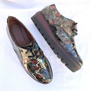 HISPANITAS Patent Leather Floral Lace Up Wedge Flatform Shoe Sz 38
