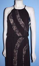 Maggy London Lace Insert Inset Jersey Maxi Gown Dress Blouson Black Size 6
