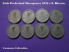 Irish Predecimal  Threepences 1942 x 8. AH5337