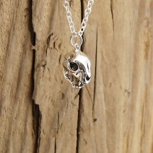 Sterling Silver Cat Skull Charm Pendant Necklace Animal Gothic Halloween Boxed