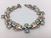 Vintage Trifari Signed Aqua Blue Sterling Silver Rhinestone Bracelet