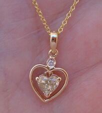 Gorgeous .60 ct Heart Shaped Fancy Yellow Diamond Pendant 14K Yellow Gold