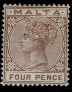 MALTA QV SG27, 4d brown, M MINT. Cat £11.
