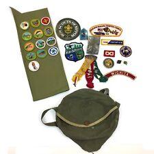 Vintage Boy Scouts Lot Webelos Ribbon Pins Patches Badges Mess Kit Bag Pouch