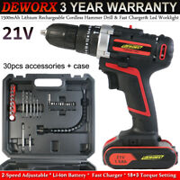 3 in 1 Cordless Combi Hammer Drill 21V 45Nm 1.5Ah Li-ion Battery Impact Driver