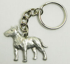 Bull Terrier Dog Keychain Keyring Harris Pewter Made Usa Key Chain Ring