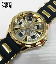 Mens Hip Hop Bling Gold Finished Car Wheel Rim Face Rapper's Rubber Band Watch