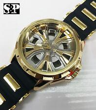 Mens Hip Hop Bling Gold Finished Car Wheel Rim Face Rapper's Rubber Band Watch