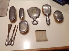 10 Pc Antique  Sterling Silver Vanity Dresser Set Mirror Brush