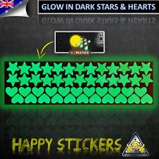 Glow in the Dark Heart Stars Vinyl Sticker - Wall Car Luggage Skateboard Laptop