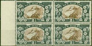 New Zealand 1935 2 1/2d Chocolate & Slate SG560b P.13.5 x 14 V.F MNH Block of 4