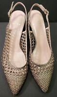 Stuart Weitzman Women's Platinum Lether Heels Sandals Shoes! Size 7.5