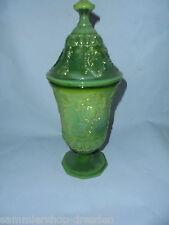 25632 alter Preßglas Pokal oliv vint pressed glass green 30cm cup baroque decor