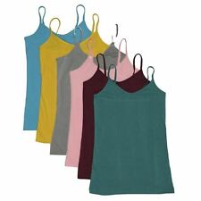 ANNA WOMEN'S STRAP CAMISOLE 6 PACK TANK TOP SLIM FIT6 2CAMI COLOR S,M,L,XL