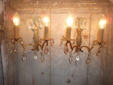 French pair of pretty antique wall light bronze brass tole crystals droplets