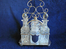 ANTIQUE ENGLISH SILVER PLATE AND CRYSTAL 6 BOTTLE CRUET SET TANTALUS c1905