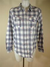 FAMOUS CATALOG COTTON PLAID EMBROIDERED HEARTS BUTTON DOWN SHIRT TOP SZ SMALL