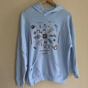 Vintage light blue hoodie navajoland native American 70s hoodie XL made in USA