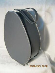 Vintage Gray Teardrop Egg Oval Shaped Train Case Luggage & Matching Shaving Bag