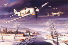 Winter Combat by Nicolas Trudgian Me109 Hannes Trautloft signed matted