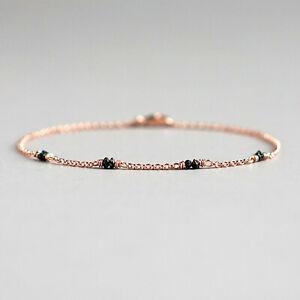 Rough Black Diamond Rose Gold Bracelet Christmas Gift For Her April Birthstone