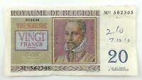 1956 Vingt 20 Francs Belgium Royaume De Belgique Circulated Banknote Q123