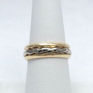 Vintage 14K Two Tone Gold Art Carved Rope Spinner Wedding Band Ring Size 8