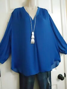 Vince Camuto NWT Long Round Hem Pleat Blouse 3/4 Sleeves Top Plus 3X Deep Blue