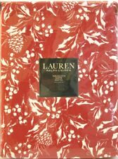 Ralph Lauren Cotton Tablecloth Holiday Bowen Holly Red Silver White 60 x 84 NEW