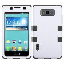 LG Splendor US730 Rubber IMPACT TUFF HYBRID Hard Case Phone Cover White Black