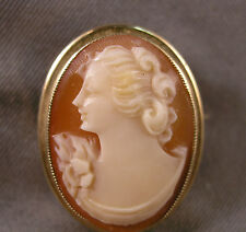 Small Vintage Carved Shell Lady Cameo & 10K Gold Brooch Pendant