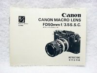 Canon Macro Lens FD50mm f/3.5S.S.C. Instructions | $12 |