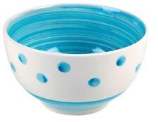Set of 6 Breakfast Bowls Stoneware Blue Polka Dot & Swirls Cereal Soup Bowls