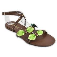 Scarpa donna Sandali bassi estivi CafèNoir marrone cuoio verde strass - FD105