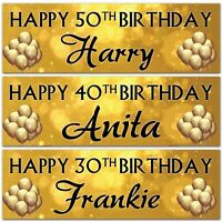 2 personalised birthday banner gold black party balloon wedding celebrating gift